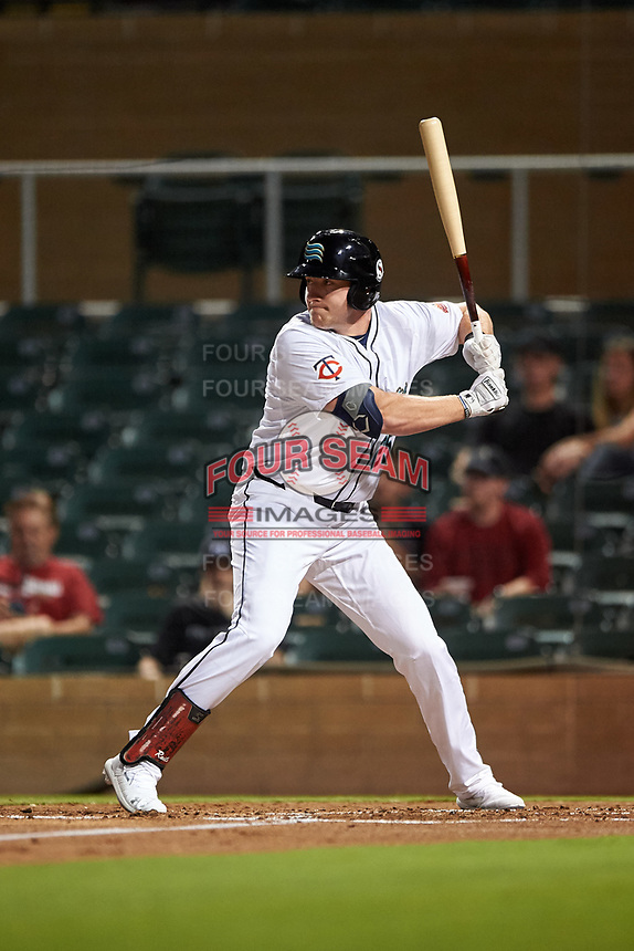 Salt River Rafters Luke Raley (25), of the Minnesota Twins organization, at bat during an Arizona Fall League game against the Mesa Solar Sox on September 19, 2019 at Salt River Fields at Talking Stick in Scottsdale, Arizona. Salt River defeated Mesa 4-1. (Zachary Lucy/Four Seam Images)