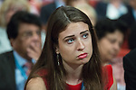 © Joel Goodman - 07973 332324 . 04/10/2016 . Birmingham , UK . A delegate listens as Melissa Mead describes losing her child , ahead of Jeremy Hunt speaking during the third day of the Conservative Party Conference at the International Convention Centre in Birmingham . Photo credit : Joel Goodman