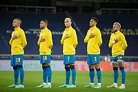 5th July 2021; Nilton Santos Stadium, Rio de Janeiro, Brazil; Copa America, Brazil versus Peru; Players of Brazil in line-up during anthems