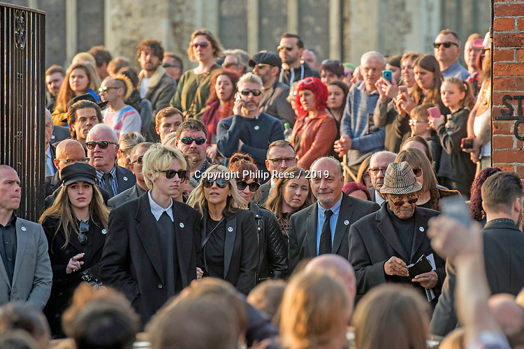 The  funeral of the late Prodigy singer Keith Flint at St Marys Church in Bocking,  Essex today. Mourners leaving the service.Rachel Howlett,  Gene Gallagher and Natalie Appleton can be seen leaving.