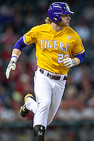LSU Tigers outfielder Jake Fraley (23) runs to first base during the Houston College Classic against the Nebraska Cornhuskers on March 8, 2015 at Minute Maid Park in Houston, Texas. LSU defeated Nebraska 4-2. (Andrew Woolley/Four Seam Images)