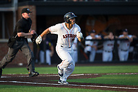 Christian Correa (8) of the Buies Creek Astros hustles down the first base line against the Wilmington Blue Rocks at Jim Perry Stadium on April 29, 2017 in Buies Creek, North Carolina.  The Astros defeated the Blue Rocks 3-0.  (Brian Westerholt/Four Seam Images)