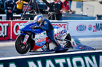Oct 14, 2019; Concord, NC, USA; NHRA pro stock motorcycle rider Hector Arana Jr during the Carolina Nationals at zMax Dragway. Mandatory Credit: Mark J. Rebilas-USA TODAY Sports