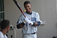 Lake County Captains shortstop Francisco Lindor #12 smiles in the dugout during a game against the Dayton Dragons at Fifth Third Field on June 25, 2012 in Dayton, Ohio. Lake County defeated Dayton 8-3. (Brace Hemmelgarn/Four Seam Images)