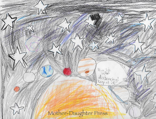 """Space"" Drawing by Caroline Weyenberg, Grade 2, Yarmouth, ME, USA"