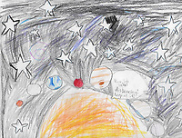 """Space"" Drawing by Caroline Weyenberg, Grade 2, Yarmouth, ME, USA"