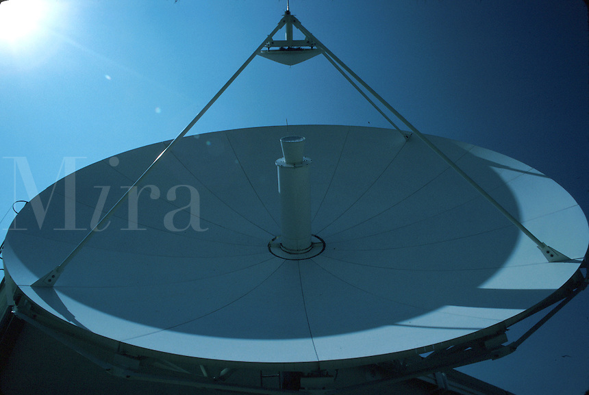 Close-up of satellite telecommunications dish for corporate usage in international relations. Chihuahua Mexico.