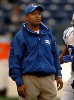 Dec. 24, 2005; Seattle, Wash, USA;  Indianapolis Colts acting head coach Jim Caldwell watches his team warm up prior to taking on the Seattle Seahawks at Qwest Field. Caldwell is filling in for head coach Tony Dungy who is away from the team while mourning the death of his son James who died earlier this week. Mandatory Credit: Photo By Mark J. Rebilas