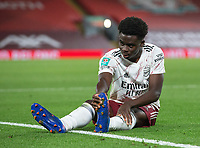 1st October 2020; Anfield, Liverpool, Merseyside, England; English Football League Cup, Carabao Cup, Liverpool versus Arsenal; Bukayo Saka of Arsenal recovers after a tackle