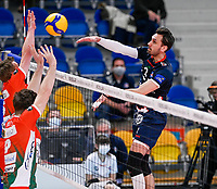 Belgian Hendrik Tuerlinckx of Roeselare  pictured during a Volleyball game between Knack Volley Roeselare and Greenyard Maaseik , the third game in a best of five in the play offs in the 2020-2021 season , saturday 10 th April 2020 at the Schiervelde international Sportshall in Roeselare  , Belgium  .  PHOTO SPORTPIX.BE   DAVID CATRY
