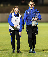 Julie Vankeirsbilck (16) of Club Brugge and goalkeeper Femke Schamp (1) of Club Brugge pictured after the warm up before a female soccer game between FC Femina White Star Woluwe and Club Brugge YLA on the eleventh matchday of the 2020 - 2021 season of Belgian Scooore Womens Super League , Friday 22 January 2021  in Woluwe , Belgium . PHOTO SPORTPIX.BE   SPP   SEVIL OKTEM