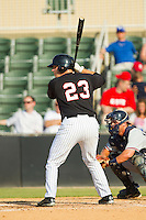 Jeremy Dowdy (23) of the Kannapolis Intimidators at bat against the Rome Braves at CMC-Northeast Stadium on June 16, 2013 in Kannapolis, North Carolina.  The Intimidators defeated the Braves 6-4.   (Brian Westerholt/Four Seam Images)