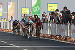 Tom Boonen (BEL) Omega Pharma-Quick Step leads the sprint to the finish line of Stage 1 of the Tour of Qatar 2012 running 142.5km from Barzan Towers to Doha Golf Club, Doha, Qatar. 5th February 2012.<br /> (Photo by Eoin Clarke/NEWSFILE).