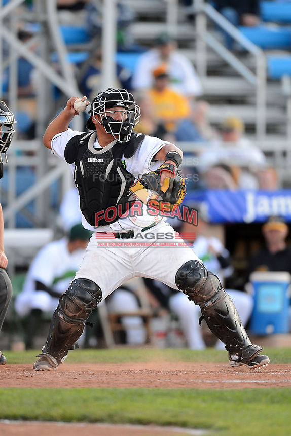 Jamestown Jammers catcher Jin-De Jhang #47 during a game against the Williamsport Crosscutters on June 20, 2013 at Russell Diethrick Park in Jamestown, New York.  Jamestown defeated Williamsport 12-6.  (Mike Janes/Four Seam Images)