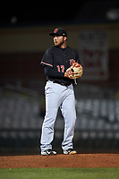 Visalia Rawhide relief pitcher Robby Sexton (17) prepares to deliver a pitch during a California League game against the Lancaster JetHawks at The Hangar on May 17, 2018 in Lancaster, California. Lancaster defeated Visalia 11-9. (Zachary Lucy/Four Seam Images)