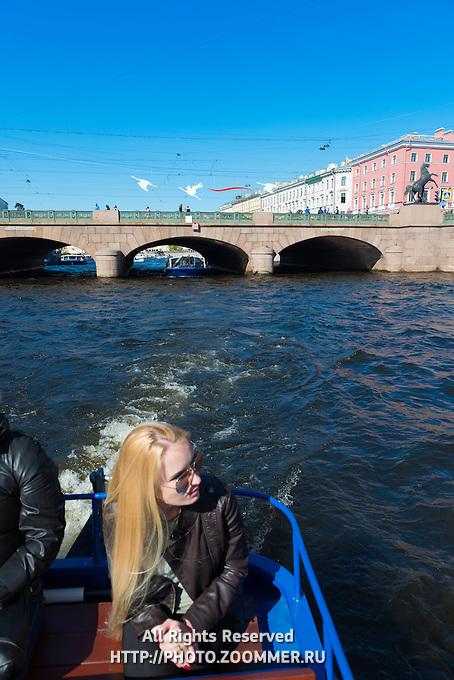 Girl On Tour Boat On Fontanka River, St Petersburg