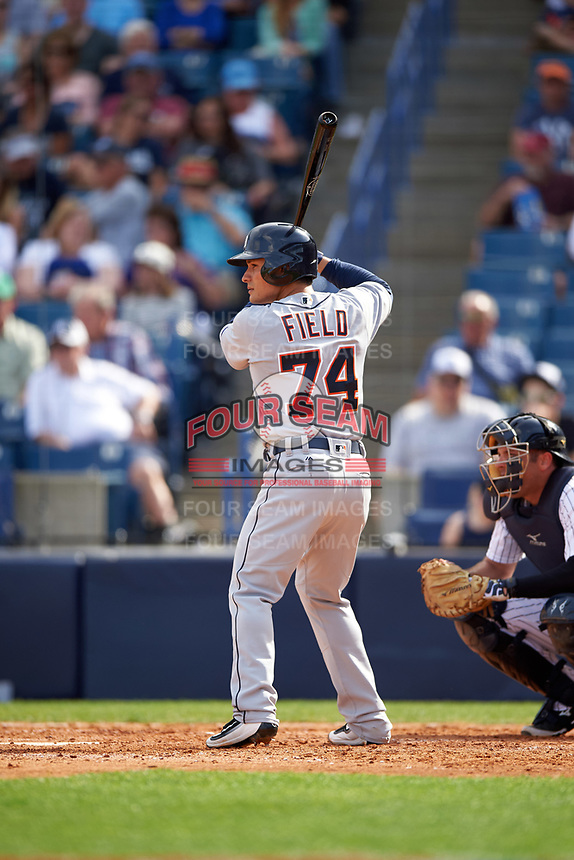 Detroit Tigers second baseman Thomas Field (74) at bat during a Spring Training game against the New York Yankees on March 2, 2016 at George M. Steinbrenner Field in Tampa, Florida.  New York defeated Detroit 10-9.  (Mike Janes/Four Seam Images)