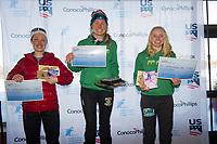 From left, third-place 50k finisher Shalane Frost, winner Hannah Rudd, second place Michaela Keller-Miller.