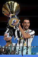 Mattia De Sciglio of Juventus celebrates the victory of the italian championship at the end of the Serie A football match between Juventus FC and AS Roma at Juventus stadium in Turin (Italy), August 1st, 2020. Play resumes behind closed doors following the outbreak of the coronavirus disease. Photo Andrea Staccioli / Insidefoto