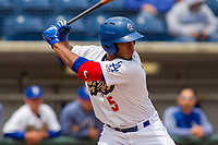 Rancho Cucamonga Quakes Cristian Santana (5) at bat against the Modesto Nuts at LoanMart Field on May 2, 2018 in Rancho Cucamonga, California. The Nuts defeated the Quakes 11-4.  (Donn Parris/Four Seam Images)
