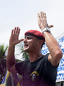 A military veteran chants in protest. Rio de Janeiro, Brazil, 15th March 2015. Popular demonstration against the President, Dilma Rousseff in Copacabana. Photo © Sue Cunningham sue@scphotographic.com.