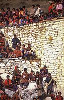 Asia, Buthan, Paro Dzong,pilgrims sitting at Paro tchetchu