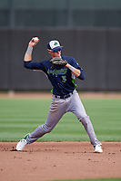Vermont Lake Monsters shortstop Logan Davidson (3) throws to first base during a NY-Penn League game against the Aberdeen IronBirds on August 18, 2019 at Leidos Field at Ripken Stadium in Aberdeen, Maryland.  Vermont defeated Aberdeen 6-5.  (Mike Janes/Four Seam Images)