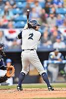 Columbia Fireflies center fielder Brodey Quinn (2) awaits a pitch during a game against the Asheville Tourists at McCormick Field on April 12, 2018 in Asheville, North Carolina. The Fireflies defeated the Tourists 7-5. (Tony Farlow/Four Seam Images)