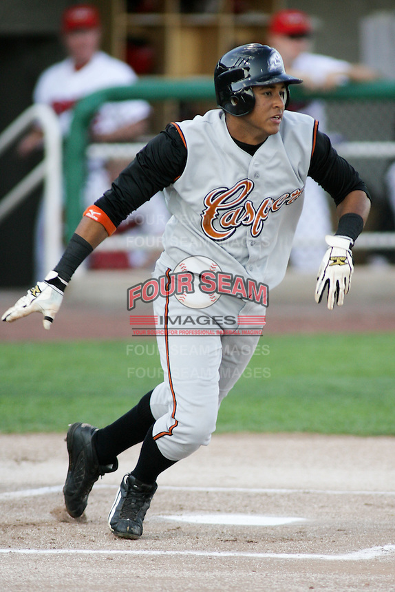 September 1, 2009: Juan Crousset of the Casper Ghosts, Pioneer League Rookie Class A affiliate of the Colorado Rockies, during a game at the Orem Owlz Ballpark in Orem, UT.  Photo by:  Matthew Sauk/Four Seam Images