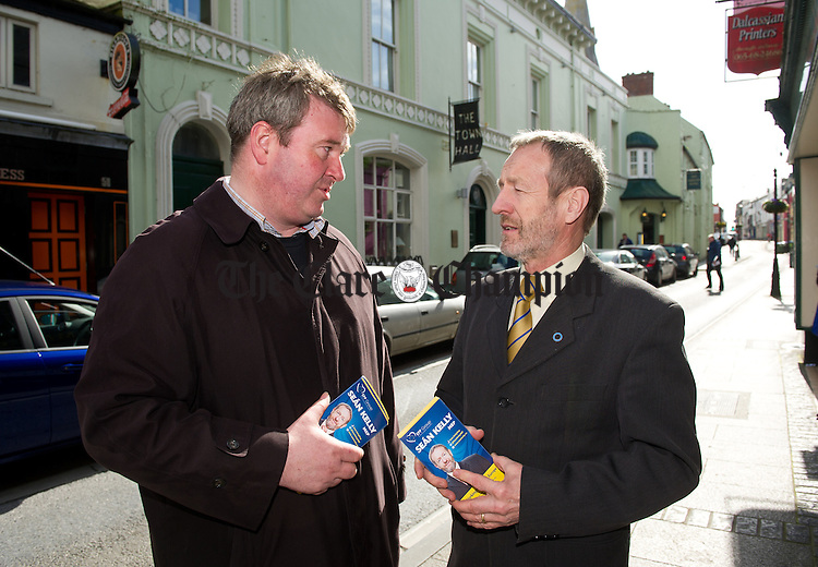 Fine Gael MEP Sean Kelly canvassing in O Connell street, Ennis with local Senator Martin Conway ahead of the European elections. Photograph by John Kelly