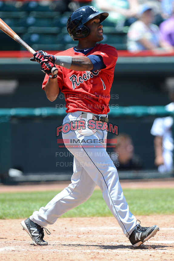 New Britain Rock Cats shortstop Danny Santana #1 during a game against the Erie Seawolves on June 20, 2013 at Jerry Uht Park in Erie, Pennsylvania.  New Britain defeated Erie 2-0.  (Mike Janes/Four Seam Images)