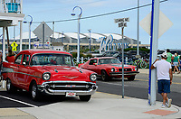 USA, New Jersey, Wildwood, parade of classic cars, GM General Motors Chevrolet Bel Air at parking place of Motel Rusmar at Ocean Ave, could be in Havanna Cuba too