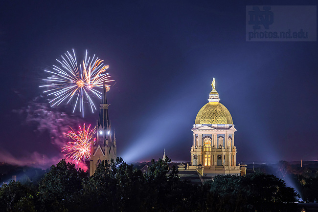 September 5, 2020; Fireworks at Holy Cross College light the sky behind the Dome and Basilica. (Photo by Matt Cashore/University of Notre Dame)