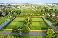 France, Cher, Berry, Route Jacques Coeur, Ainay le Vieil, Chateau d'Ainay le Vieil, castlel gardens (aerial view) // France, Cher (18), Berry, Route Jacques Coeur, Ainay-le-Vieil, jardins du château, le Grand carré en l'île (vue aérienne)