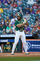 Davion Downey (9) of the Baylor Bears at bat against the LSU Tigers in game five of the 2020 Shriners Hospitals for Children College Classic at Minute Maid Park on February 28, 2020 in Houston, Texas. The Bears defeated the Tigers 6-4. (Brian Westerholt/Four Seam Images)