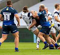 29th August 2020; AJ Bell Stadium, Salford, Lancashire, England; English Premiership Rugby, Sale Sharks versus Bristol Bears; Tiff Eden of Bristol is stopped with a hard tackle