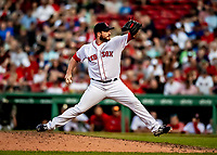 22 June 2019: Boston Red Sox pitcher Ryan Brasier on the mound in the 8th inning against the Toronto Blue Jays at Fenway :Park in Boston, MA. The Blue Jays rallied to defeat the Red Sox 8-7 in the 2nd game of their 3-game series. Mandatory Credit: Ed Wolfstein Photo *** RAW (NEF) Image File Available ***