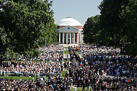 Thousands of students, faculty members and parents filled the lawn for the 2006 gradution ceremonies Sunday May 21, 2006 at the University of Virginia in Charlottesville, Va. Photo/ graduate celebrate happy