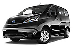 Stock pictures of low aggressive front three quarter view of 2016 Nissan E-Nv200-Evalia Connect-Edition 5 Door Mini MPV Low Aggressive