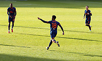 Blackpool's Grant Ward wheels away in celebration after scoring his side's equalising goal to make the score 1 - 1<br /> <br /> Photographer Rich Linley/CameraSport<br /> <br /> The EFL Sky Bet League One - Crewe Alexandra v Blackpool - Saturday 17th October 2020 - Gresty Road - Crewe<br /> <br /> World Copyright © 2020 CameraSport. All rights reserved. 43 Linden Ave. Countesthorpe. Leicester. England. LE8 5PG - Tel: +44 (0) 116 277 4147 - admin@camerasport.com - www.camerasport.com