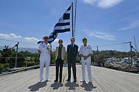 Pictured: Prince Edward (3rd L). Saturday 18 May 2019<br /> Re: Prince Edward, Duke of Kent visits cruiser Georgios Averof at Palaio Faliro, Athens, Greece