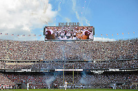 Texas A&M takes the field led by aggie yell leaders before NCAA Football game kickoff, Saturday, September 06, 2014 in College Station, Tex.(Mo Khursheed/TFV Media via AP Images)
