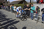 Dropped chain for Daniel Schorn (AUT) Team Netapp on the approach to the Koppenberg climb during the 96th edition of The Tour of Flanders 2012, running 256.9km from Bruges to Oudenaarde, Belgium. 1st April 2012. <br /> (Photo by Steven Franzoni/NEWSFILE).