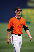 Frederick Keys Chris Clare (2) warms up before the first game of a doubleheader against the Lynchburg Hillcats on June 13, 2018 at Nymeo Field at Harry Grove Stadium in Frederick, Maryland.  Frederick defeated Lynchburg 3-0.  (Mike Janes/Four Seam Images)