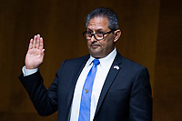 """Michael Carvajal, director of the Federal Bureau of Prisons, is sworn in during the US Senate Judiciary Committee hearing titled """"Examining Best Practices for Incarceration and Detention During COVID-19,"""" in Dirksen Building in Washington, D.C. on Tuesday, June 2, 2020. <br /> Credit: Tom Williams / Pool via CNP/AdMedia"""