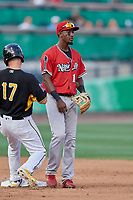 Jorge Mateo (14) of the Nashville Sounds on defense during the game against the Salt Lake Bees at Smith's Ballpark on July 27, 2018 in Salt Lake City, Utah. The Bees defeated the Sounds 8-6. (Stephen Smith/Four Seam Images)