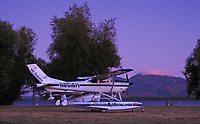 Foothill Aviation's Cessna 182 SealLane, N8516M, at dusk at the Clear Lake Seaplane Splash-In, Lakeport, Lake County, California