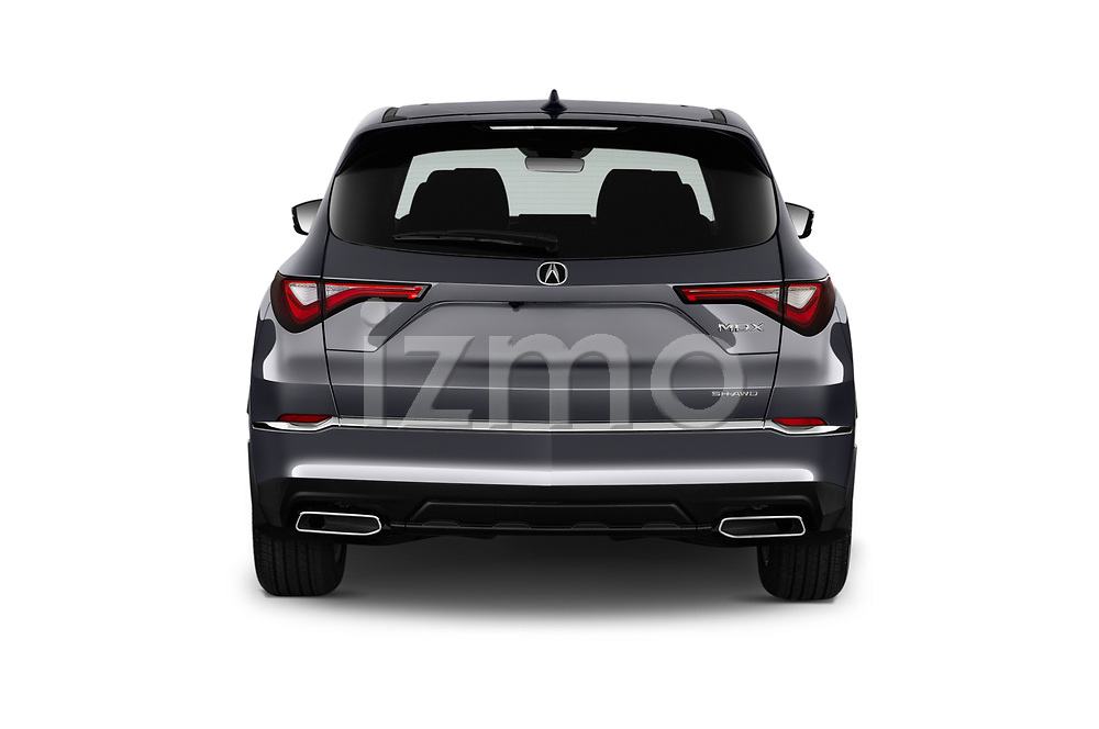 Straight rear view of 2022 Acura MDX - 5 Door SUV Rear View  stock images