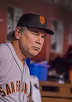 6 August 2016: San Francisco Giants Manager Bruce Bochy watches play from the dugout during a game against the Washington Nationals at Nationals Park in Washington, DC. The Giants defeated the Nationals 7-1 to even their series at one game apiece. Mandatory Credit: Ed Wolfstein Photo *** RAW (NEF) Image File Available ***