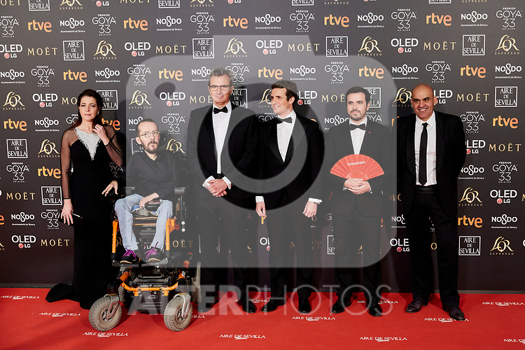 Pablo Echenique, Pablo Casado and Albeto Garzon attends to 33rd Goya Awards at Fibes - Conference and Exhibition  in Seville, Spain. February 02, 2019. (ALTERPHOTOS/A. Perez Meca)